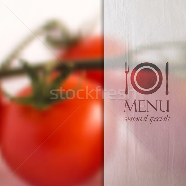 restaurant menu design with background of bunch of tomatoes and paper semi transparent texture, vect Stock photo © maximmmmum