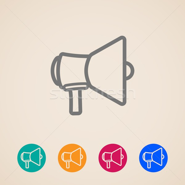 vector icon set with a megaphone or loudspeaker in flat style design Stock photo © maximmmmum