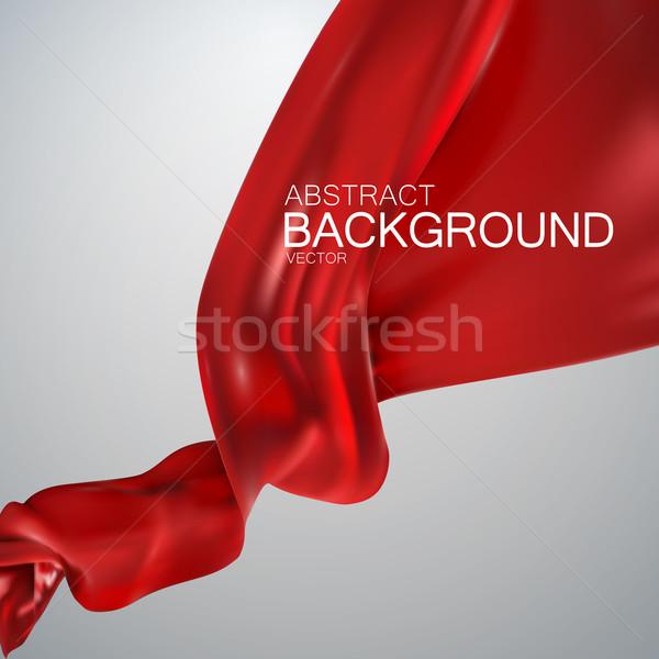 красный шелковые ткань атласных вектора текстильной Сток-фото © maximmmmum