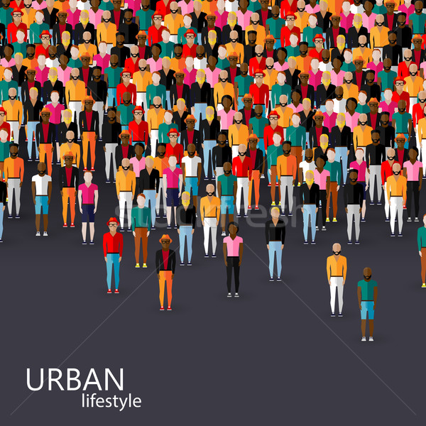 vector flat illustration of male community with a crowd of guys and men. urban lifestyle concept Stock photo © maximmmmum