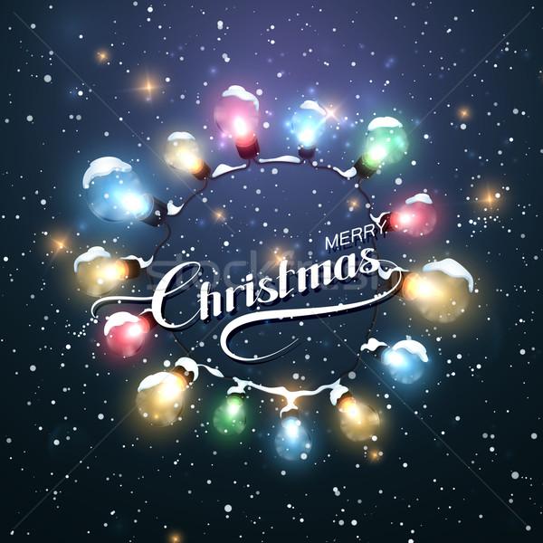Foto stock: Navidad · luces · vector · vacaciones · ilustración · alegre