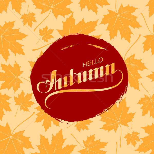 Hello jesienią sezonowy etykiety bezszwowy Zdjęcia stock © maximmmmum