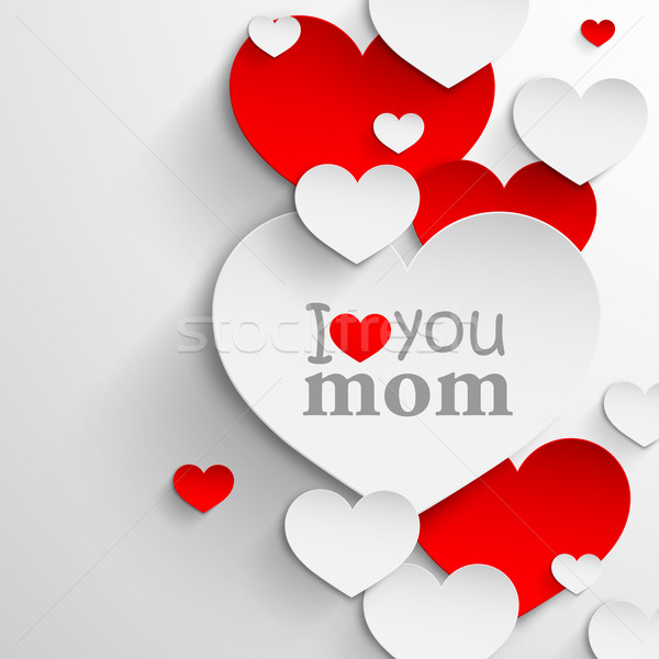 I love you mom. Abstract holiday background with paper hearts and ribbon. Mothers day concept  Stock photo © maximmmmum