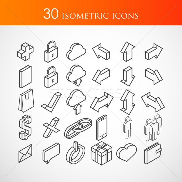 set of 30 isometric vector icons  Stock photo © maximmmmum