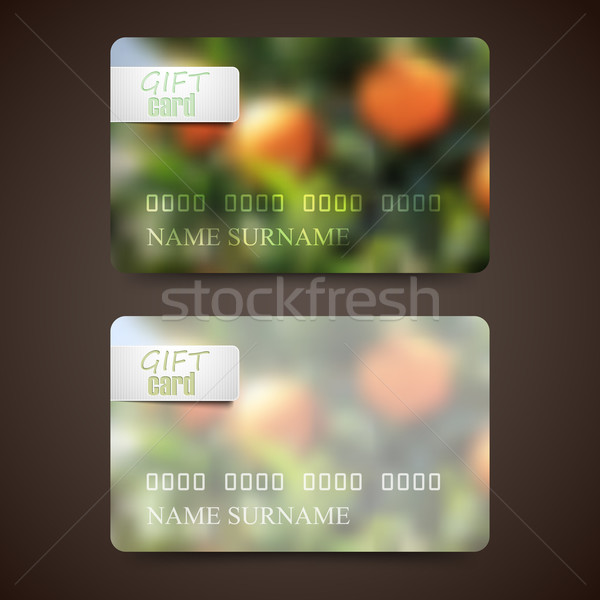 Set of gift cards with blurred background of orange grove, vector design  Stock photo © maximmmmum