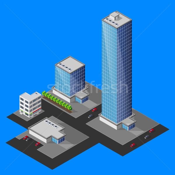 Isométrica cityscape negócio escritório cidade casa Foto stock © maximmmmum