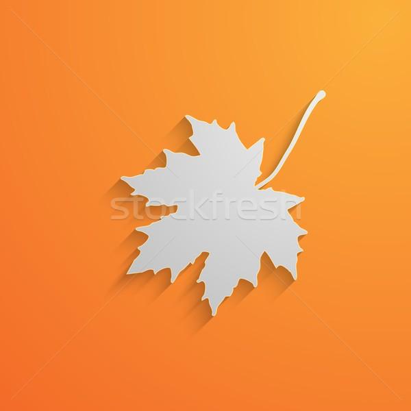 Carta 3D foglia d'acero ombra autunno albero Foto d'archivio © maximmmmum