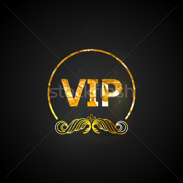 golden VIP card.vector black ornate background with golden wrink Stock photo © maximmmmum