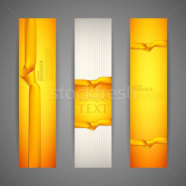 set of banners with yellow ribbons Stock photo © maximmmmum