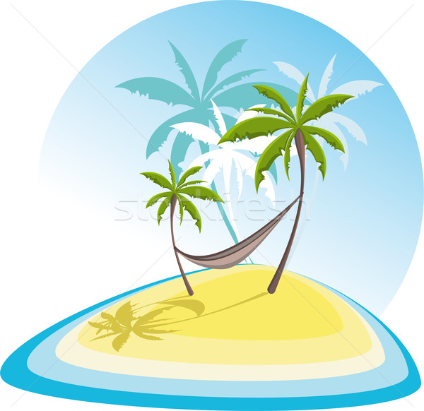 простой иллюстрация Тропический остров природы морем фон Сток-фото © maximmmmum