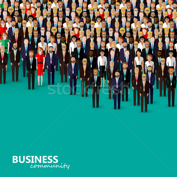 vector flat illustration of business or politics community. a crowd of men and women (business commu Stock photo © maximmmmum