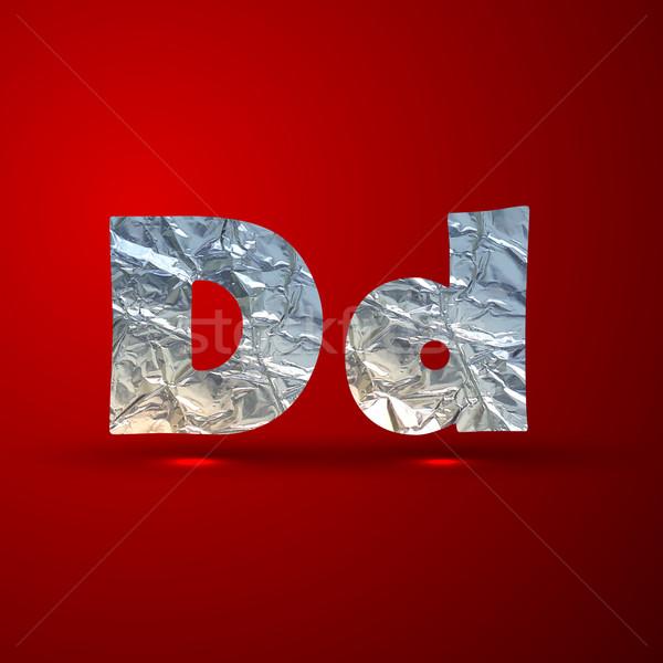 vector set of aluminum or silver foil letters. Letter D Stock photo © maximmmmum
