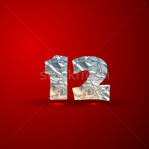 vector set of aluminum or silver foil numbers 1,2 Stock photo © maximmmmum