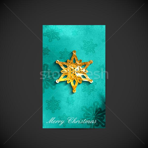 Stockfoto: Christmas · vakantie · briefkaart · gouden · sneeuwvlok · star