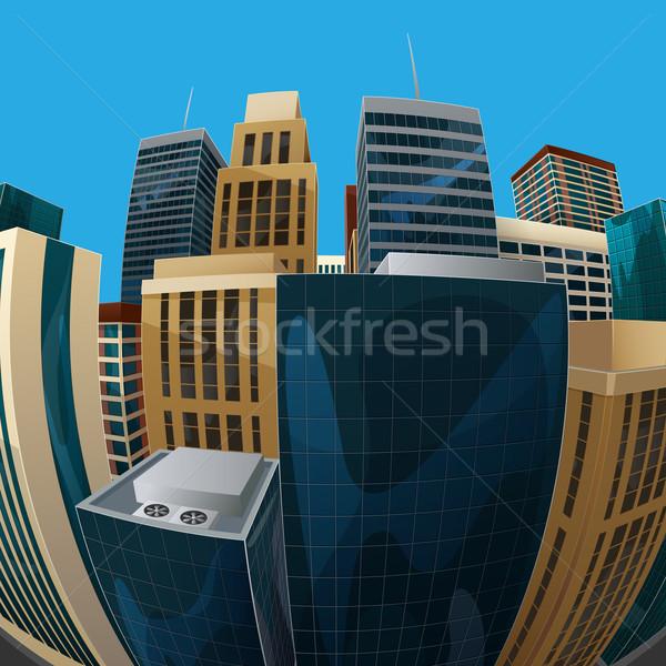 Ilustração olho de peixe lente cityscape ver cidade Foto stock © maximmmmum