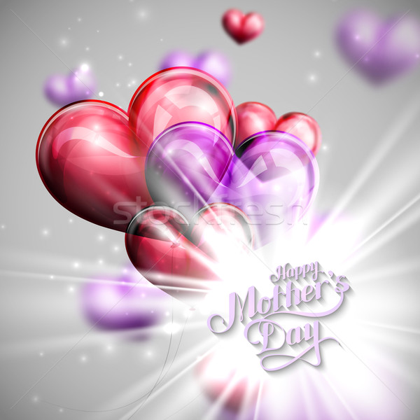 handwritten Happy Mothers Day retro label with balloons Stock photo © maximmmmum