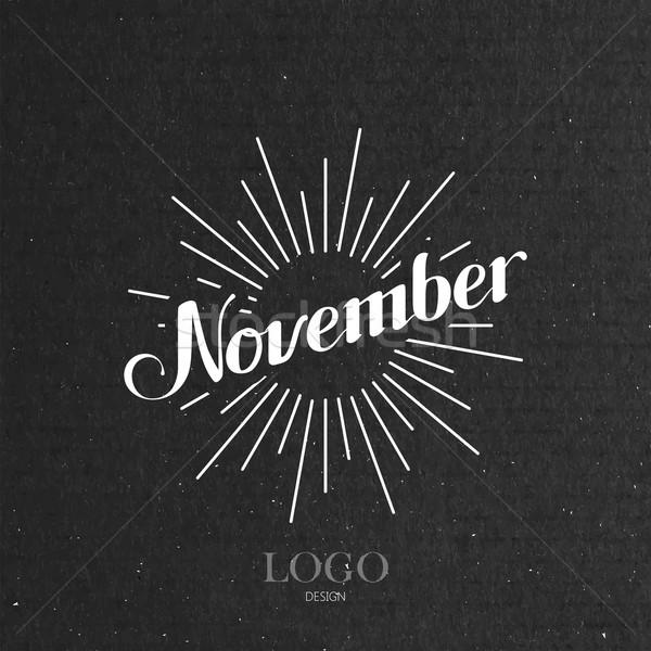 illustration of handwritten November retro label with light ray Stock photo © maximmmmum