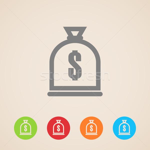 Pénz táska ikon munka felirat zöld Stock fotó © maximmmmum