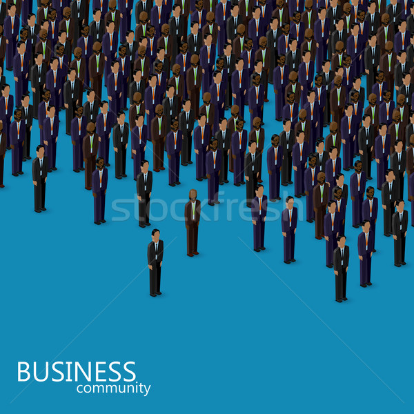 vector 3d isometric illustration of business or politics community. a crowd of men (business men or  Stock photo © maximmmmum