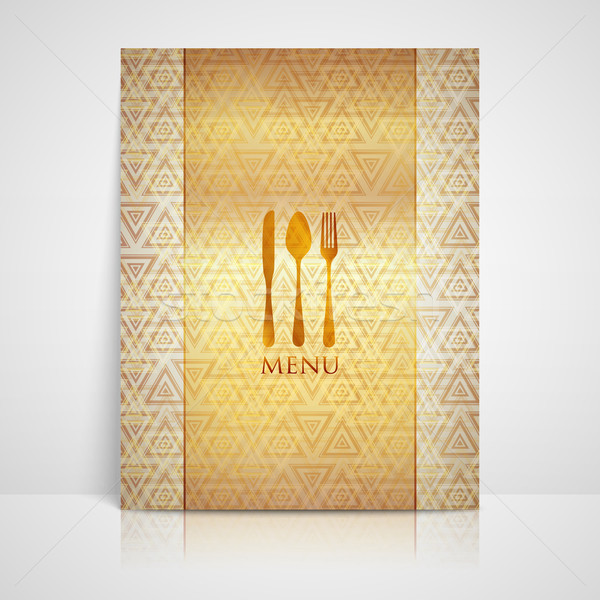 restaurant menu design with spoon, fork and knife  Stock photo © maximmmmum