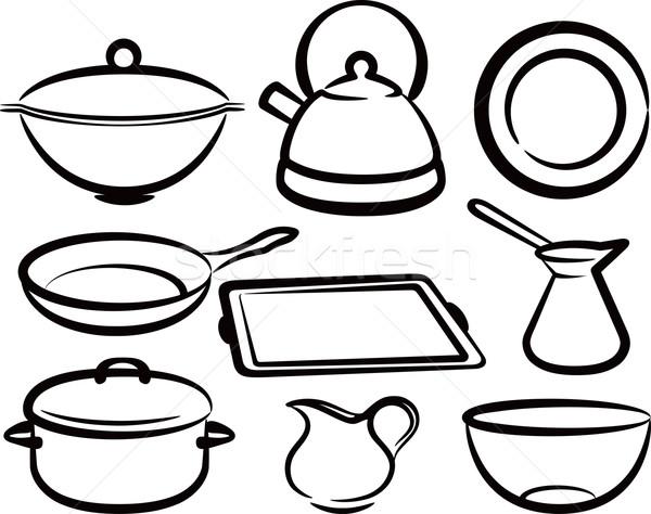 set of kitchen utensil Stock photo © maximmmmum