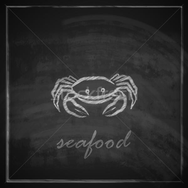 vintage illustration with a crab on blackboard background  Stock photo © maximmmmum