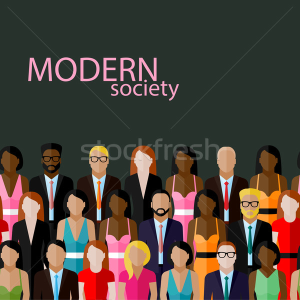 vector flat  illustration of business or politics community. a large group of well- dresses men and  Stock photo © maximmmmum