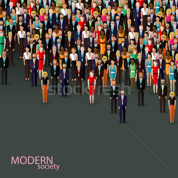 vector flat illustration of business or politics community. crowd of well-dresses men and women (bus Stock photo © maximmmmum