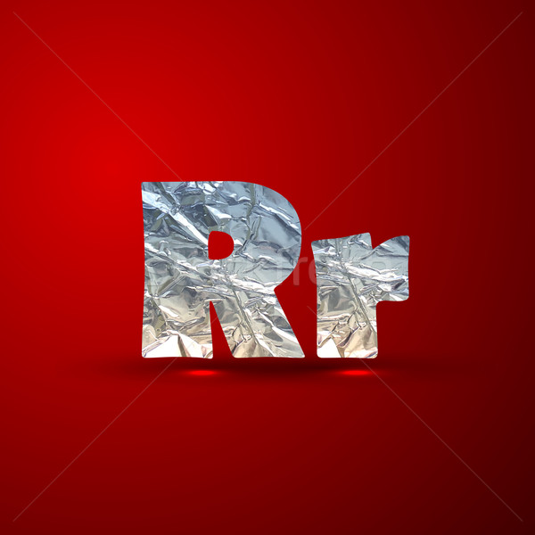 vector set of aluminum or silver foil letters. Letter R Stock photo © maximmmmum