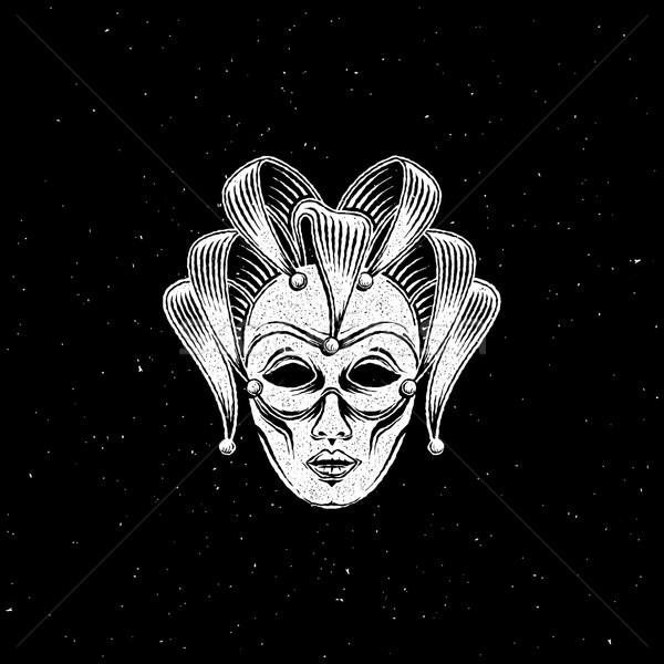 Velencei karnevál maszk embléma vésés fekete Stock fotó © maximmmmum