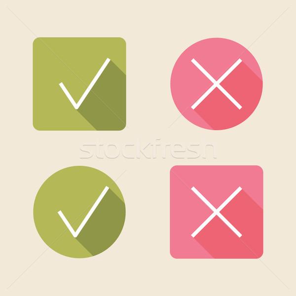 Vector comprobar iconos web móviles Foto stock © maximmmmum