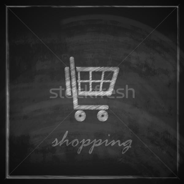 vintage illustration with a shopping cart on blackboard background Stock photo © maximmmmum
