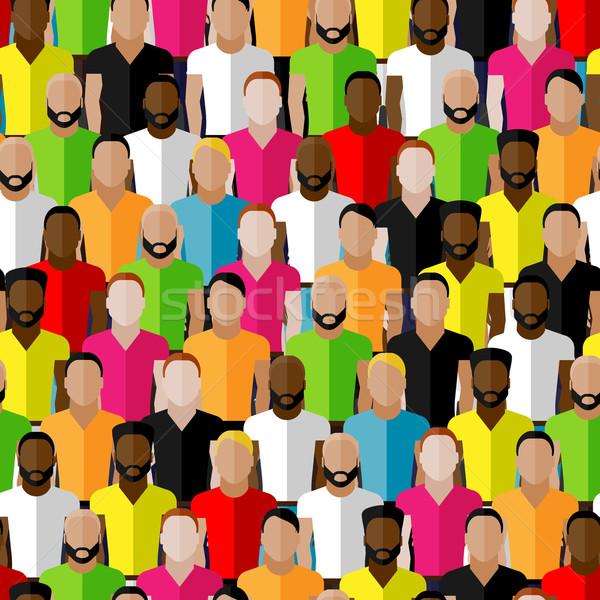 Stock fotó: Vektor · végtelen · minta · férfiak · tömeg · illusztráció · közösség
