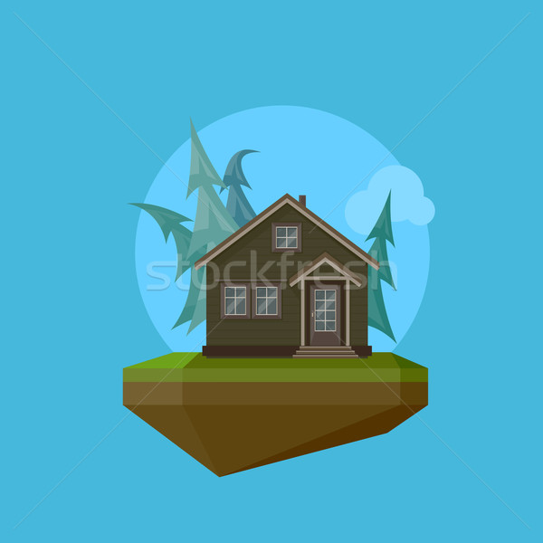 Illustration of a cartoon house in flat polygonal style and flying island Stock photo © maximmmmum