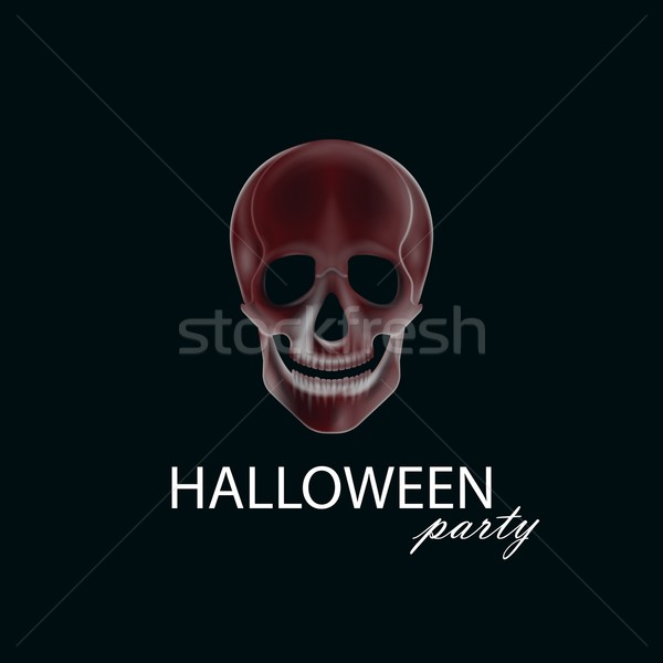 vector illustration of a human  skull. halloween party poster, flyer or invitation card design Stock photo © maximmmmum