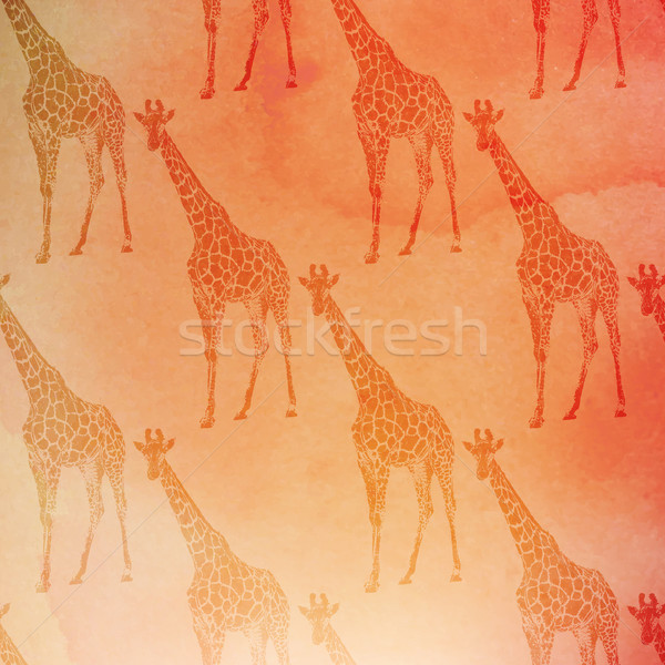 vector vintage illustration of giraffes pattern on the watercolor background Stock photo © maximmmmum