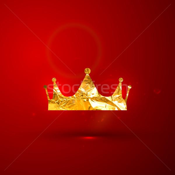 vector illustration of a golden metallic foil royal crown on the Stock photo © maximmmmum
