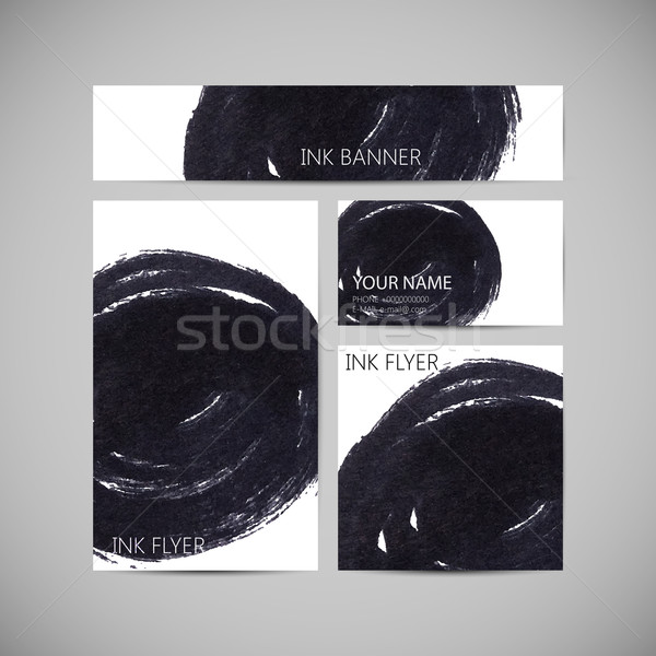 set of vector visual corporate identity with ink marker stain ba Stock photo © maximmmmum