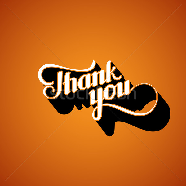 vector typographic illustration of handwritten Thank You retro label. lettering composition  Stock photo © maximmmmum