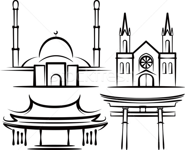 illustration with places of worship Stock photo © maximmmmum