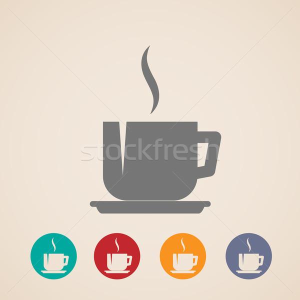 ベクトル コーヒー 茶碗 アイコン デザイン キッチン ストックフォト © maximmmmum