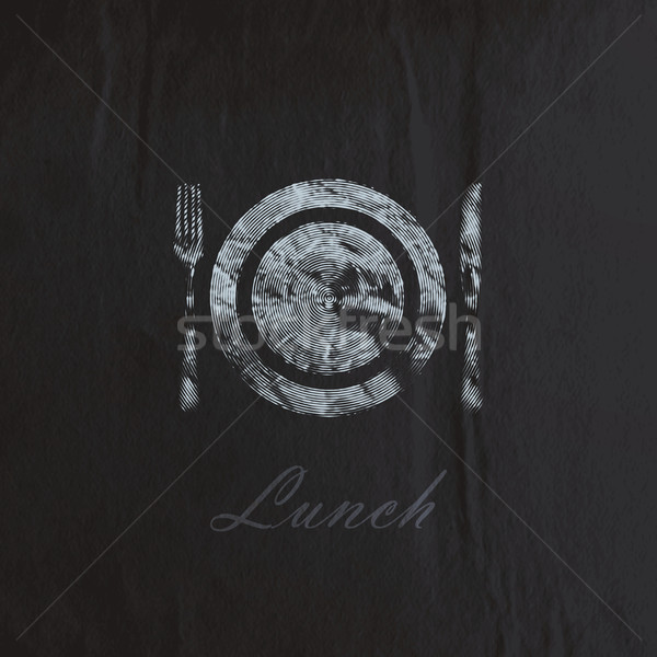 vector illustration of  engraving plate and cutlery on the black wrinkled paper texture. lunch time  Stock photo © maximmmmum