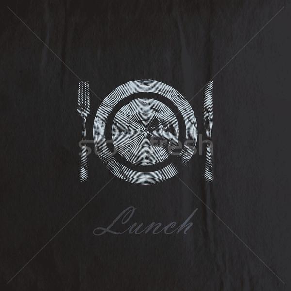 Vésés tányér evőeszköz fekete ráncos papír textúra Stock fotó © maximmmmum