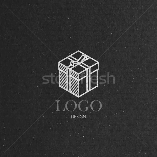 vector illustration with isometric gift box on cardboard  texture. Logo design  Stock photo © maximmmmum
