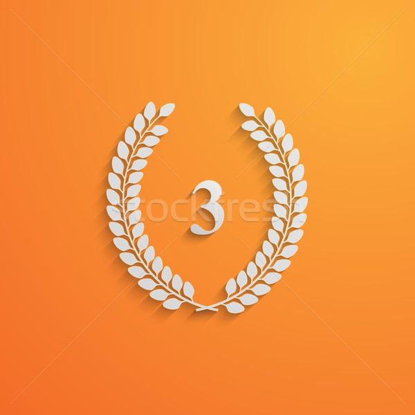 vector illustration of laurel wreath. 3d paper design with long shadow. 3 place Stock photo © maximmmmum