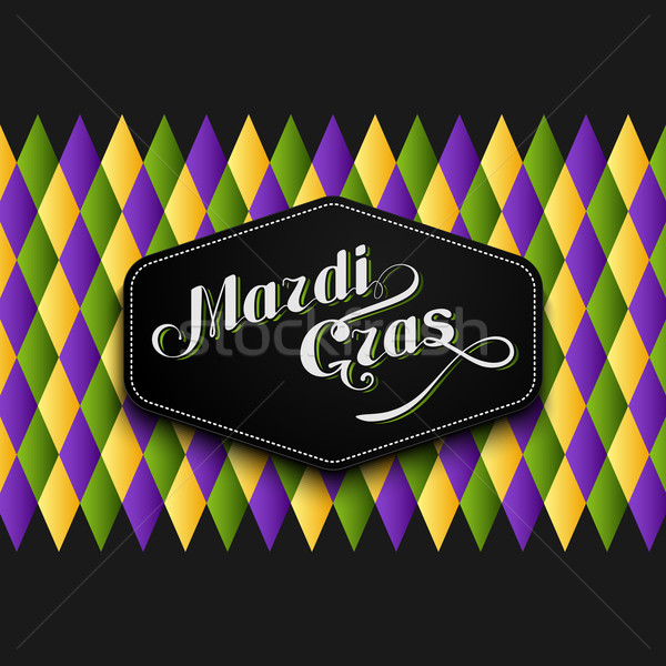vector illustration of Mardi Gras or Shrove Tuesday lettering label on checkered background. Holiday Stock photo © maximmmmum
