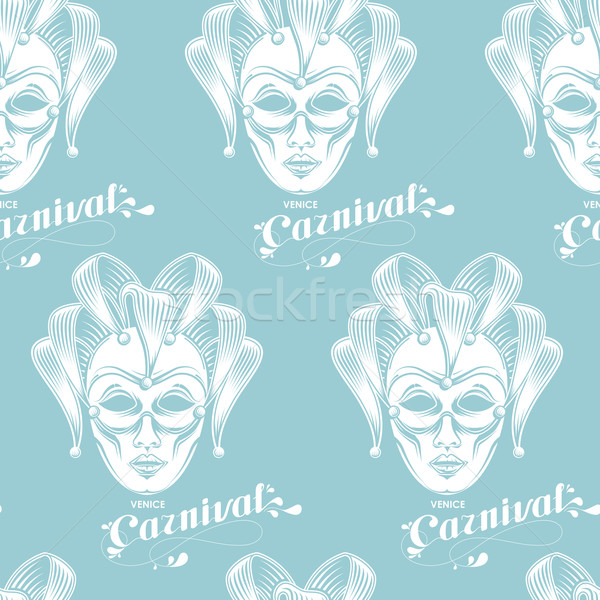 Vektor vésés velencei karnevál maszk embléma Stock fotó © maximmmmum