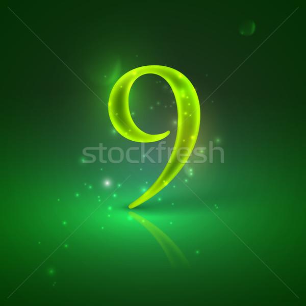 9. Green glowing number nine  Stock photo © maximmmmum
