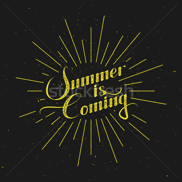 Summer retro label with light rays Stock photo © maximmmmum