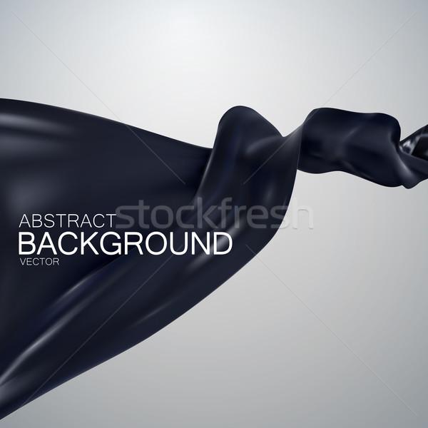 черный шелковые ткань атласных вектора текстильной Сток-фото © maximmmmum
